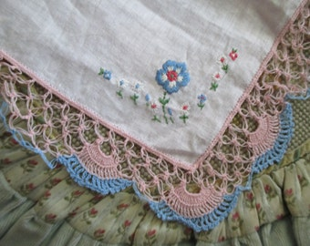 Vintage Hankie Hanky Pink Linen Pink Blue Ornate Thread Crochet Edge Embroidered Flowers