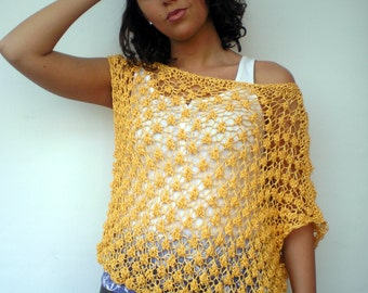 Yellow Asymetric Lace Tunic Hand Knit Sweater Bicolor Woman Tunic Vest NEW