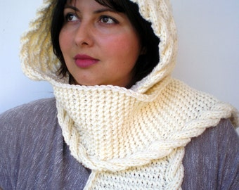 Cabled Marion Ivory Hood Scarf soft  Hooded Scarf Hand Knit Chunky Cabled Scarf Hood NEW