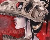 T-Rex red Dinosaur Bone watercolor Art Print Carla Wyzgala carlations