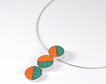 Sterling Silver Pendant - Divided Circles - Green and Orange - Geometric Design