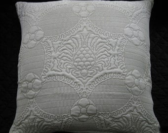 Ecru Trapunto Style Fabric Pilllow Cover 18x18 inches. Central Medallion Cushion