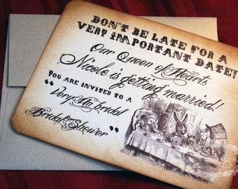 Alice in Wonderland Birthday/Shower Invitations - Flat cards - Vintage Appearance -  Set of 15