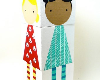Wooden Mix and Match Doll Blocks