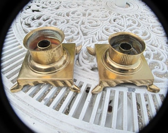 Vintage Candlesticks, Candleholders, Brass, Pair from India