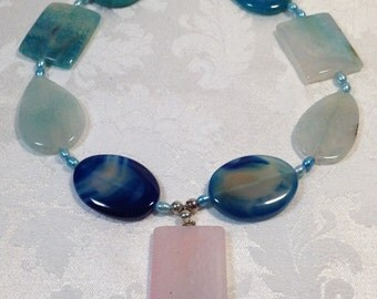 Blues and Pink AGATE Necklace - semiprecious gemstones and freshwater PEARL accents - Pendant size beads dragon veins