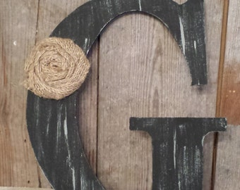 Black Rustic Chic Wooden Letter G home decor letters burlap flower tan distressed Primitive Wreath Letter