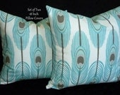 Throw Pillows, Accent Pillows, Decorative Pillows, Pillow Covers -  Set of Two 18 Inch - Teal, Taupe, and White
