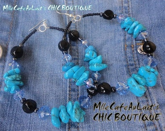 Denim Blue Turquoise, Czech Crystal, Black Agate Beaded Hoop Earrings- DENIM JEANIUS