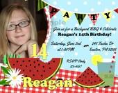 BBQ Invitation Watermelon Bunting Invite Photo Birthday Printable red blue green yellow Lemonade Cookout