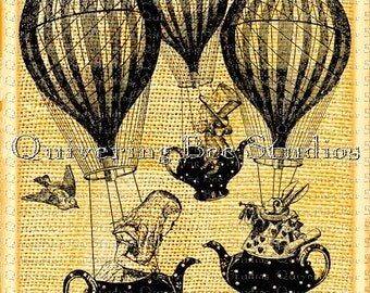 Alice in Wonderland Hot Air Balloons Teapots Digital Download fabric transfers t-shirts birthday party invitations nursery decal art no 0001