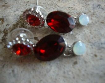 Vintage Austrian Crystal Earrings Christmas Earrings Red Earrings Dangle Earrings Vintage Jewelry OC