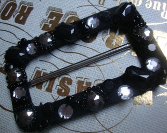 Black Acrylic Rhinestone Fabric Covered Buckle Jewelry Holiday Accessories Vintage Jewelry Belt Buckle Victorian Style Jewelry OC