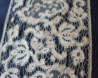 A Piece of 1920's Antique Cotton Cream Lace French Lace Trim Heirloom Lace Bridal Accessories Romantic Lace Antique Lace 128