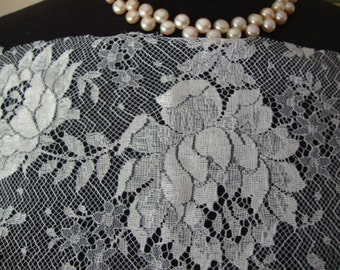 A Piece of Vintage French White Tulle Lace Wedding Lace Bridal Lace Vintage Wedding  Flapper Dress Edwardian Style Made in France 102