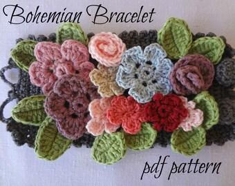 DIGITAL CROCHET PATTERN Bohemian Bracelet- flower bracelet, crochet bracelet, boho bracelet,crocheted  accessory, a photo tutorial