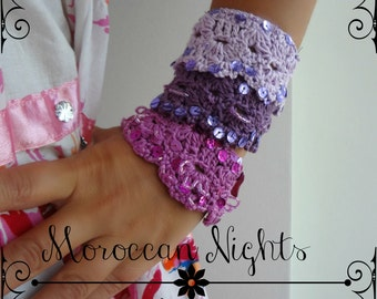 CROCHET PATTERN Moroccan Cuff, crocheted bracelet, crocheted cuff, shell bracelet, crocheted  accessory, a photo tutorial