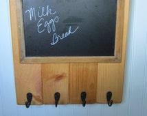 Chalkboard Key Hook wall holder coat  rack hooks entry hall foyer mudroom  Memo board