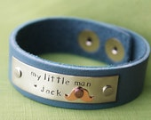 Customized Leather Bracelet with Personalized Name | My Little Man with Copper Mustache | Hand Stamped Bracelet