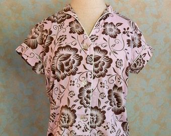 Vintage Pajama Top, Bed Head Pajama Top, Pink Pajamas, Small Pajamas