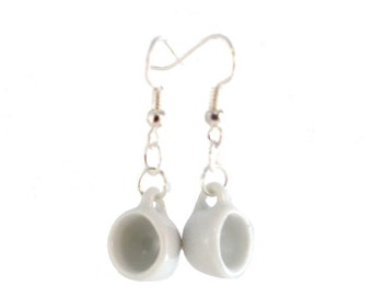 Small White Cup Dangle Earrings on Hooks or Clip Ons