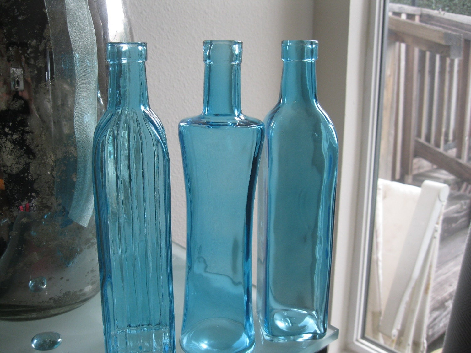 blue decorative colored glass bottles floral bud vase