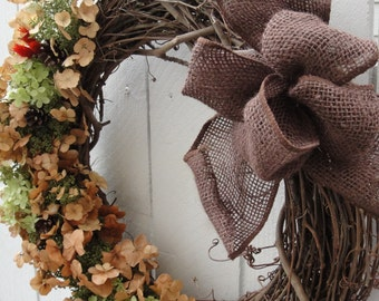 Hydrangea Wreath   Maple Leaf Hydrangea Wreath  Autumn Wreath  Dried Hydrangea Wreath Hand Crafted Wreath