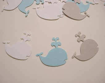 Blue and gray whale confetti, 100  cardstock punches for party decorations, scrapbook embellishments