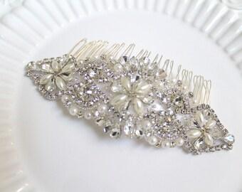 Bridal beaded crystal applique hair comb.  Pearl rhinestone large wedding headpiece.