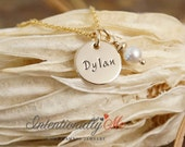 Hand Stamped Mommy Necklace - Personalized Jewelry - 14K Gold Filled Mommy Jewelry - Mini Name Tag with pearl