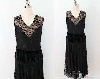 1920s Dress / Lace Illusion Flapper Dress / Velvet Dropped Waist