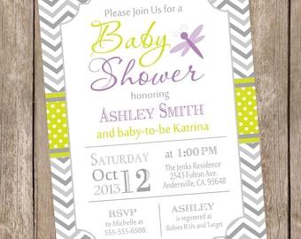 Bridal shower invitation typography invitation modern dragonfly baby shower invitation green and purple baby shower invite chevron invitation typography filmwisefo