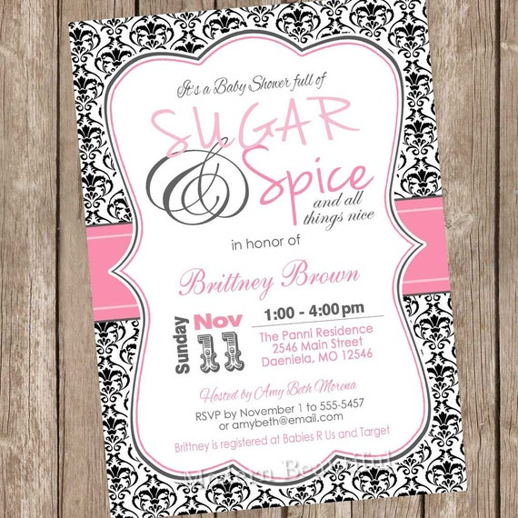 Damask sugar and spice girl baby shower invitation hot pink and il570xn filmwisefo