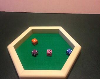 Wooden Hexagon Dice Tray