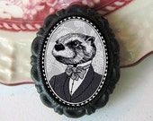 otter pin - victorian style portrait - black and white - sea otter