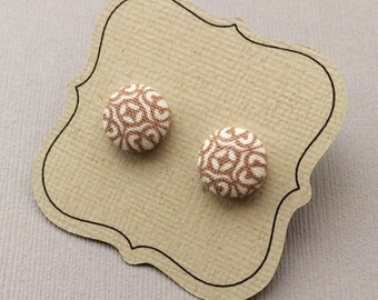 Fabric Button Titanium Earrings, Brown and White pattern, Titanium Hypoallergenic posts / studs