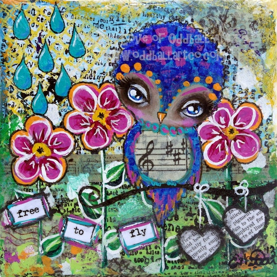 Big Eye Mixed Media Owl Giclee Art Print Signed Reproduction Free To Fly by Lizzy Love [IMG#52]