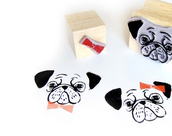 2 rubber stamps - PUG & RIBBON