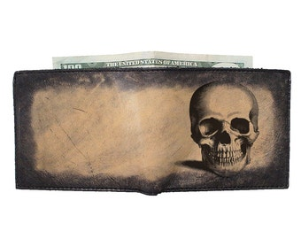 Mens Leather Wallet - Custom Wallet - Groomsmen Gift - Skull