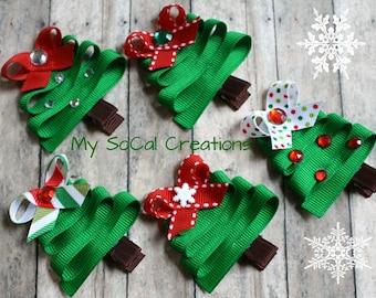 Holiday Ribbon Sculpture Hair Clip-Modern Christmas Tree-No Slip Hair Clip-New Years Tree