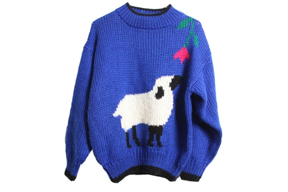 Sheep Knitting A Sweater : Cute sheep sweater vintage bright blue hand knit