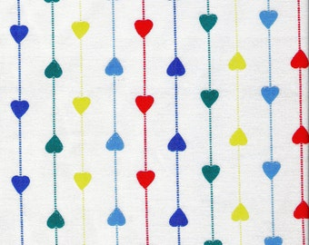 White Fabric Striped Heart Fabric Blue Yellow Green Red Heart Fabric Yardage Fat Quarters Cotton Quilting Fabric Sewing Supplies YacketUSA