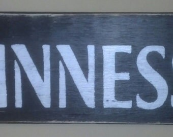 Primitive Guinness Sign W/Shamrock Accent