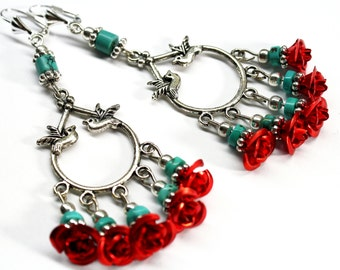 Red Rose Chandelier Earrings, Bird Earrings,  Turquoise Chandelier Earrings, Frida Earrings, Christmas Earrings