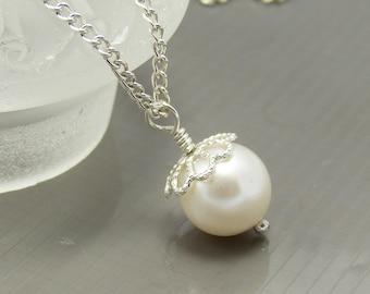 Swarowvski Crystal White Pearl Necklace, Bride, Bridesmaid