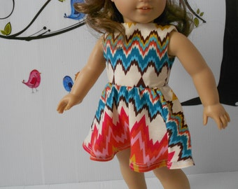 Doll clothes dress bright colors coral turquoise fits 18 in dolls like AG, Madame Alexander handmade