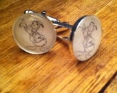 DONALD DUCK Disney CUFFLINKS silver plated 15mm glass Perfect for your hubby, dad, son, or wedding