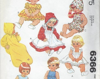"1970s McCalls Pattern No. 6366  - Wardrobe for Baby Doll 15 1/2"" and 17"" Doll Cloths  UnCut"