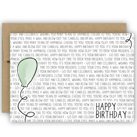 Birthday Card - Balloon - No. GCB002