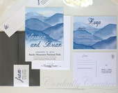 RESERVED for Chrystal: Mountain Wedding Invitation featuring our watercolor mountain range illustration in cobalt blue